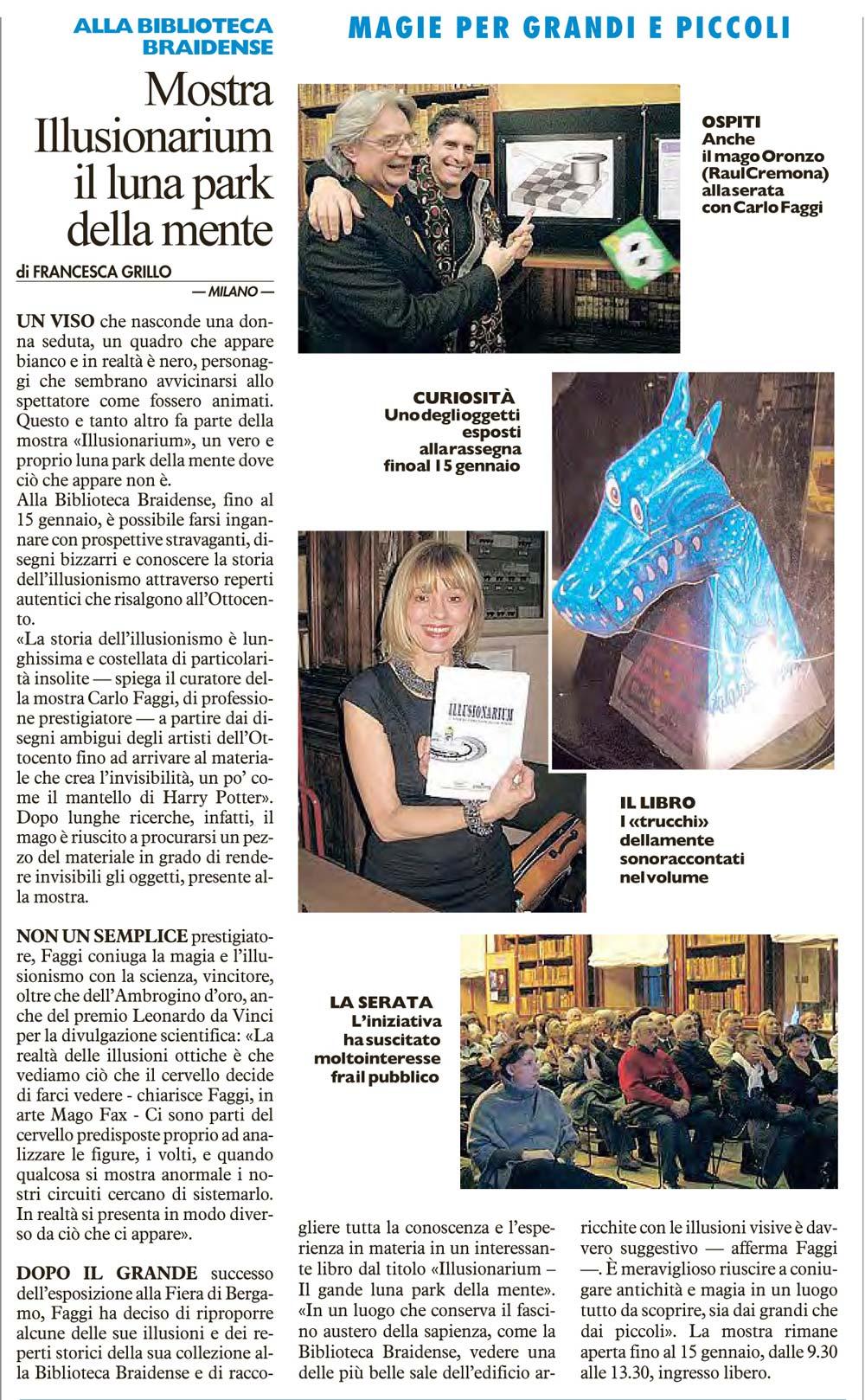Recensione su IL GIORNO (12/01/2014)
