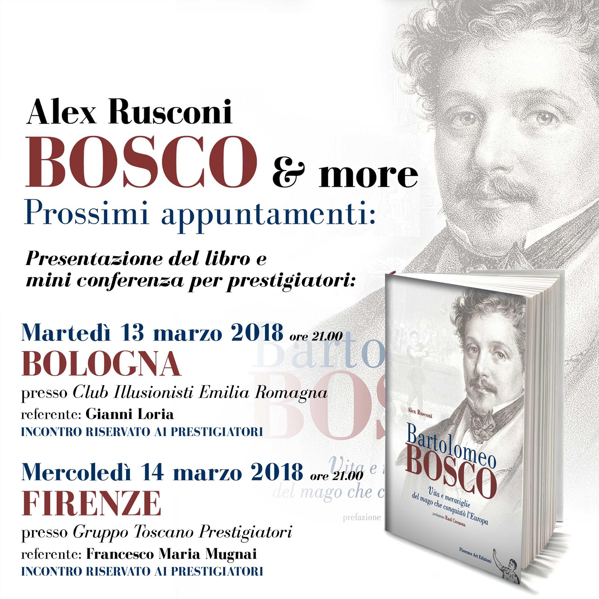 Alcune presentazioni del libro Bartolomeo Bosco di Alex Rusconi